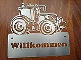 Gartendeko Fockbek Türschild Klingelschild Namenschild Edelstahl Trecker 2 Traktor Landwirtschaft Willkommen
