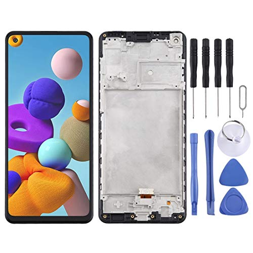 GUODONG Accesorios de reparación de pantalla LCD y digitalizador de montaje completo con marco para Samsung Galaxy A21s / SM-A217 piezas de repuesto (color: negro)