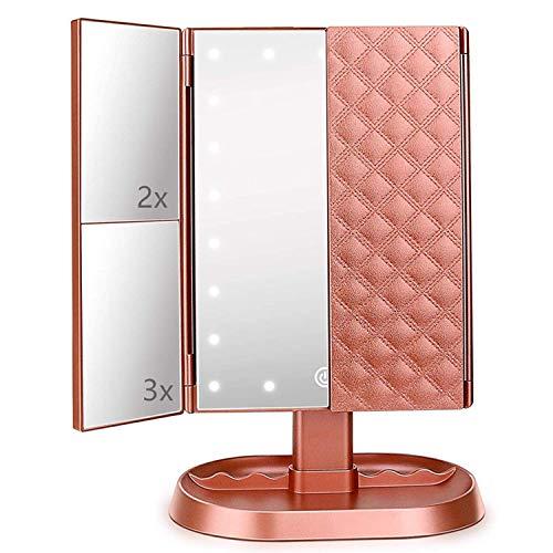 Flymiro Specchio Trucco con Luci 21 LED,Specchio Cosmetico Triplo con Ingrandimento 1x2X/3X,Rotazione 90° Ideale per Trucco, Rasatura e Lenti Contatto,Specchio Cosmetico da Tavolo (Rosa Oro)