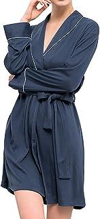 Lutents バスローブ レディース 腰ベルト付き 綿100% 優雅 エレガント 無地 長袖 五分丈 部屋着 優しい肌触り お風呂上がり ルームウェア ナイトガウン 寝巻き ボディタオル パジャマ 体型カバー ショート ガウン カップルバスローブ バスグッズ