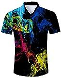 Spreadhoodie Humo de Colores Camisa con Estampado Floral de los Hombres Camisa con Estampado de Flores Camisa de Playa para Vacaciones XXL