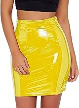 Eliacher Women's Shiny Liquid Metallic Wet Look Flared Bodycon Pencil Skirts Sexy Short PU Skirts