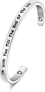 FOTAP  I'm with You Till The End of The Line Cuff Bracelet Gift for Boyfriends, Girlfriends Mother Gift from Daughter, Son (line Cuff)