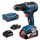 Bosch Professional 06019H5200 GSR 18V-55-Atornillador (2 baterías x 4.0 Ah, 18V, 55 NM, en L-BOXX), 18 V, Azul