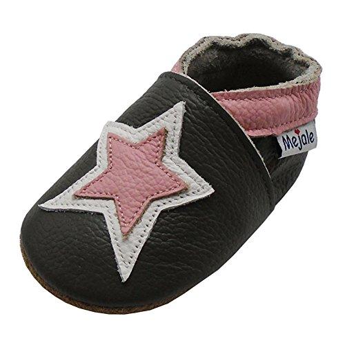 Mejale Hausschuhe für Kinder, Baby, Leder, weich, für die ersten Schuhe, Cartoon-Design, Sterne, - Dunkelgrau, Stern Fuchsia - Größe: 12-18 mois