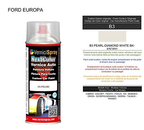 Vernice Ritocco B3 PEARL-DIAMOND WHITE BK-XSC691 per verniciatura carrozzeria in Bomboletta Spray 400 ml VerniciSpray