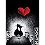 DTNO.I 5D Diamond Painting Kit Cats in Love (30 x 40cm) DIY Fabricación de mosaicos pintura de diamantes Utilizado para mejorar el de salón pasillo y dormitorio