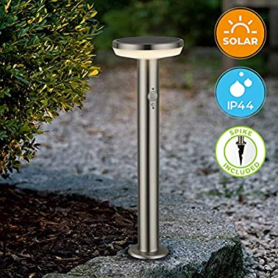 """BRIMMEL Outdoor Solar Landscape Path Lights with Motion Senor 60 W Stainless Steel Waterproof 8H Endurance Cordless Landscaping Garden Light for Pathway/Garden, Solar Energy, Silver, 20"""", SG601149"""