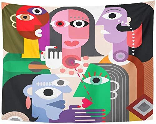 Tapiz de generación de gran familia, tapices abstractos para adultos, colgantes de pared para sala de estar, dormitorio, dormitorio, 150x130cm/59x51inchch