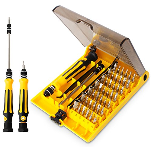45 in 1 Mini Screwdriver Set, VCOO Torx Bit Tools Set, Small Precision Screwdriver Kit with Tweezers & Extension Shaft for Repair or Maintenance