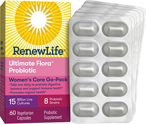 Renew Life Womens Probiotic - Ultimate Flora Women's Care Go-Pack Probiotic Supplement - Shelf Stable, Gluten, Dairy & Soy Free - 15 Billion CFU - 60 Vegetarian Capsules (Packaging May Vary)