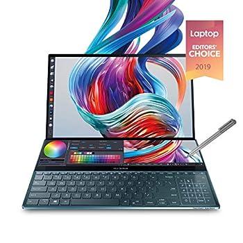 "Asus ZenBook Pro Duo UX581 15.6"" 4K UHD NanoEdge Bezel Touch Intel Core i9-9980HK 32GB RAM 1TB PCIe SSD GeForce RTX 2060 Innovative Screenpad Plus Windows 10 Pro - UX581GV-XB94T Celestial Blue"