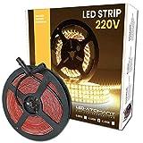Rollo de 5 metros de Tira de Luz LED Directa a 220v. Color Blanco Neutro (4500K). Impermeable. Corte cada 10cm. A++