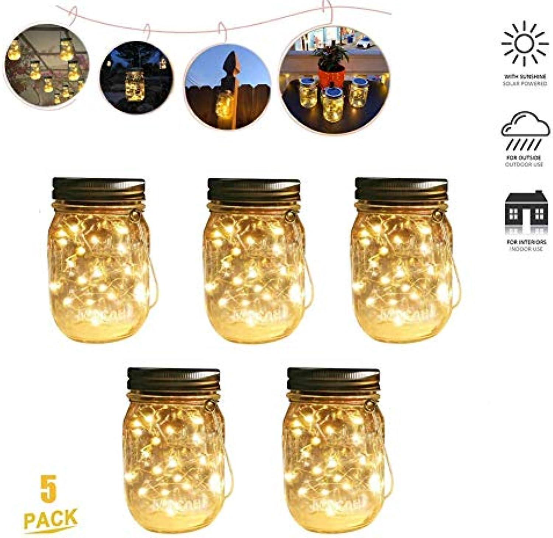 DZWJ Solar Garten Lichter, 20 LED Garten Licht wasserdichte Outdoor Single Lampe Einmachglas Beleuchtung für Gartenterrasse Garage Einfahrt Treppen 5PCS