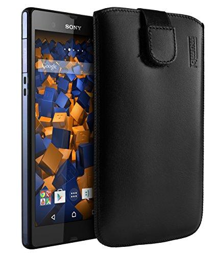 mumbi Echt Ledertasche kompatibel mit Sony Xperia Z Hülle Leder Tasche Hülle Wallet, schwarz