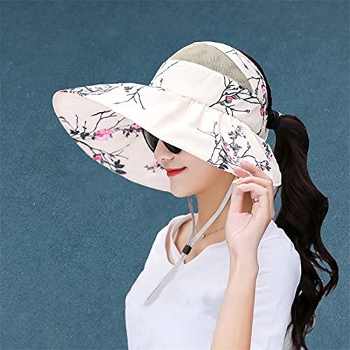 XQLSRJ Sombreros De La Playa De Verano Mujeres Grandes De ala Ancha Plegable con Sombrero De Copa Ajustable Anti -UV Tapa De Visera Solar Hembra (Color : Beige, Size : 54-59)