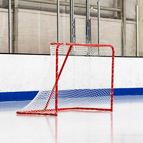 Forza Hockey Goals (6ft x 4ft) | Regulation Or Professional Hockey Goals | Galvanized Steel Frame | Professional 5mm Thick Net with 42mm Mesh | Traditional Red Frame with White Netting (Regulation)