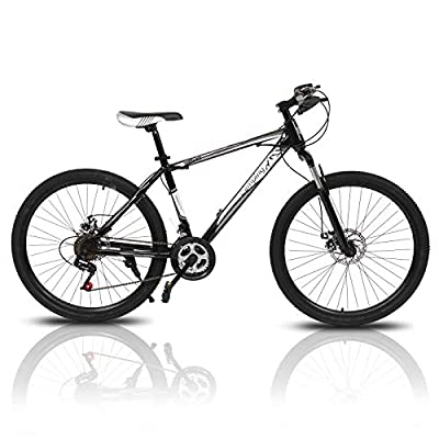 "PEXMOR 26"" Mountain Bike, 21 Speed Mountain Bicycle with High Carbon Steel Frame & Double Disc Brake, Front Suspension Anti-Slip Shock-Absorbing Men and Women's Outdoor Cycling Road Bike"