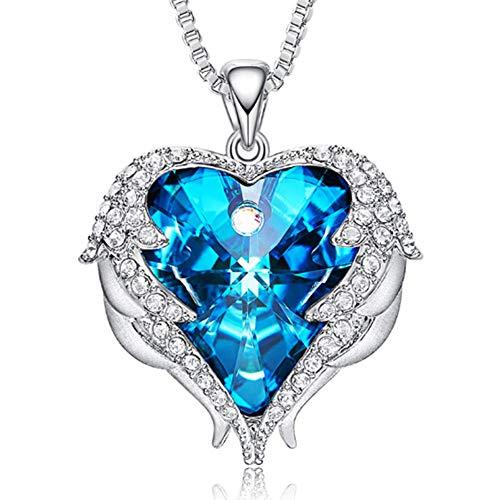 XINGYU Collar Corazón Cristales de Swarovski Alas de Angel Joyería Navidad Regalo para Damas Mamá Novia