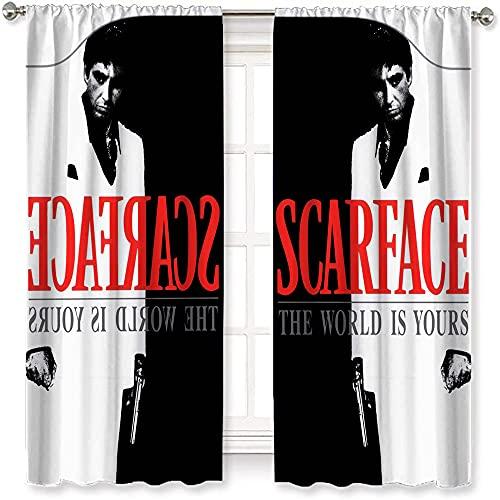 VICWOWONE Black Out Cortinas de película en blanco y negro Scarface para dormitorio con aislamiento térmico para sala de estar, 160 x 115 cm