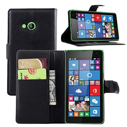 Ycloud Tasche für Nokia Microsoft Lumia 535 Hülle, PU Ledertasche Flip Cover Wallet Case Handyhülle mit Stand Function Credit Card Slots Bookstyle Purse Design schwarz