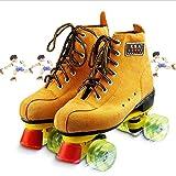 YIQI スエード風素材 ローラースケート 子供から大人まで ローラースケート子供用 インラインスケート クワッド ローラーシューズ ジュニア キッズ 初心者向け 男の子 女の子 (黄, 24~25cm)