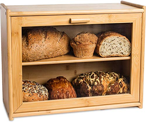 Bamboo 2- Layer Large Capacity Bread Box Countertop Bread Storage Bread Boxes Bin with Transparent Window for Kitchen Counter(Natural)