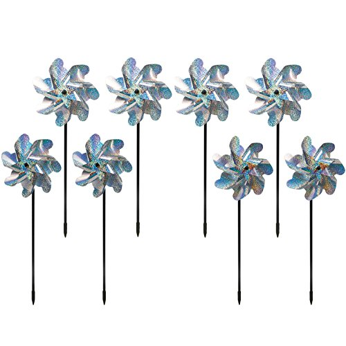 Bird Blinder Premium Repellent PinWheels – Sparkly Holographic Pin Wheel Spinners Scare Off Birds and Pests (Set of 8) - Pre-Assembled Bird Repellent Devices Outdoor - Humanely Keep Birds Away