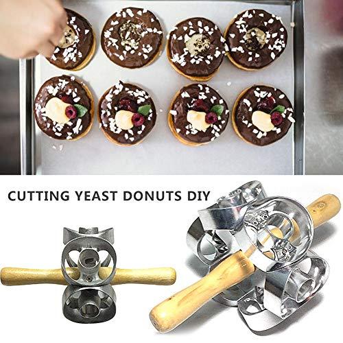 bouncevi Donut Mold Metal Rotary Donut Makers Cortadores Galletas Marco Molde Herramientas para Hornear Donuts Maker Well-Suited