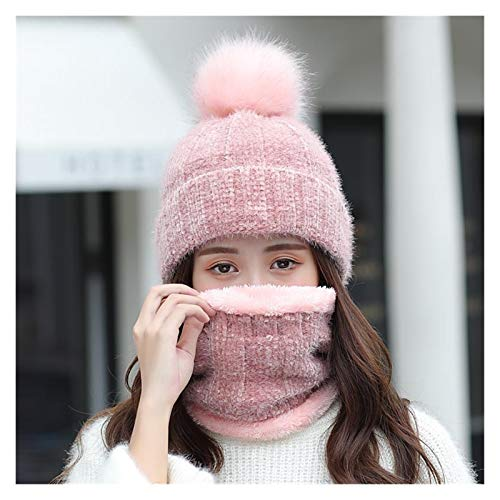 Winter Women's Hats Sweet Lovely Snowflake Dots Knitted Hat Scarf Set Thick Warm Skullies Beanies Cap (Color : Style1)