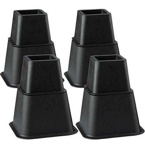 Uping Rehausseur Pieds de lit Rehausseur Meuble,Ajouter 3 Hauteurs Réglables de 7,5CM 13CM ou 20,5CM (4 Paires, Noir)