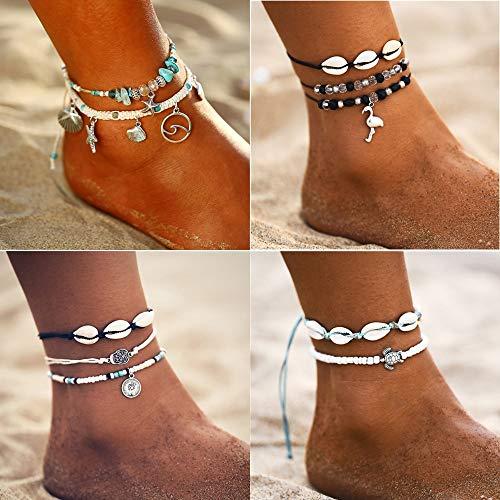 Longteng Ocean Beach Sea Shell Ankle Bracelet Multi Layer Beads Adjustable String Macrame Mussel Seashell Anklets For Women