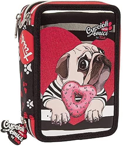Astuccio Escuela cachorros Trudi rojo 3 cremalleras completo 20 x 13 x 6 cm