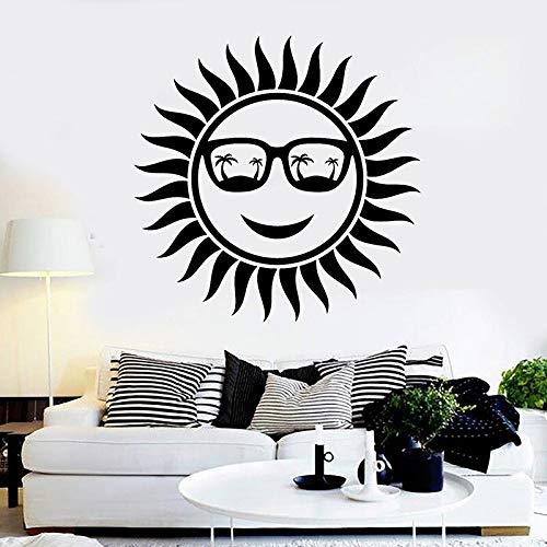 Pegatina de pared de sol activo, gafas con palmera, pegatina de playa, Mural artístico, vinilo, adhesivo de fondo extraíble, Mural 57x57cm