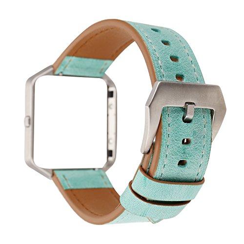 Auténtica piel para Fitbit Blaze, estilo fresco de la pulsera correa de repuesto pulsera & tapa marco de metal para Fitbit Blaze banda, color Grass Green