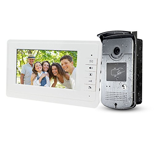 LIBO Smart Home 7inch Wired Color Video Door Phone Intercom System Video Doorbell Indoor Monitor Camera with 25 Ringtone for Apartment Safe