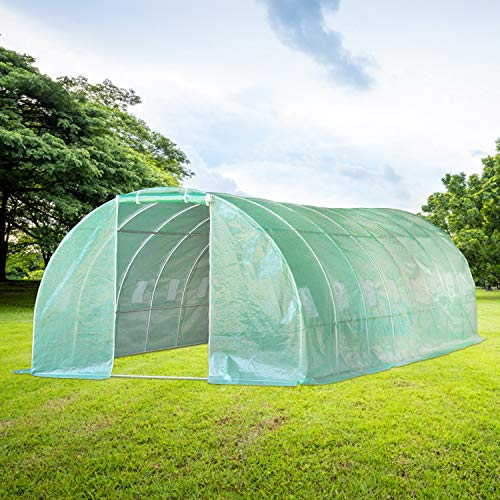 Aoxun 26'x10'x7' Large Walk-in Garden Greenhouse,Tunnel Greenhouse with 16 Roll-Up Windows, Hot House Portable for Plants Outdoor in Winter ,Green