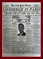 ポスター ピーター リンドバーグ VISIONAIRE(ヴィジョネアー)チャールズ・リンドバーグ NYタイムズ1927年5月22日 額装品 ウッドベーシックフレーム(レッド)