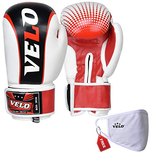 VELO. Boxhandschuhe Kampf Training Boxsack Muay Thai MMA Kickboxen Sparring Flex Leder weiß (170 g)