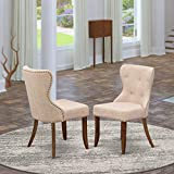 East West Furniture SIP8T04 Wood Upholstered Dining Chairs Includes Antique Walnut Hardwood Frame with Light Tan Linen Fabric Seat with Nail Head and Button Tufted Back