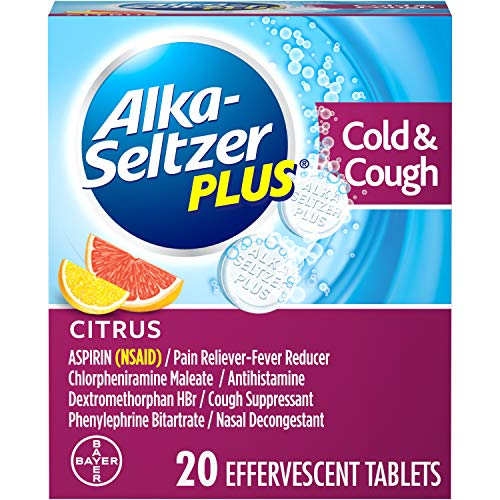 Alka-Seltzer Plus Cold & Cough Medicine, Citrus Effervescent Tablets with Pain Reliever/Fever Reducer, Citrus, 20 Count