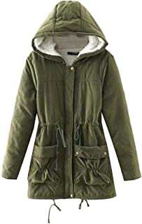 Macondoo Women's Winter Hooded Anorak Wool Lined Overcoat Parka Jacket Coat