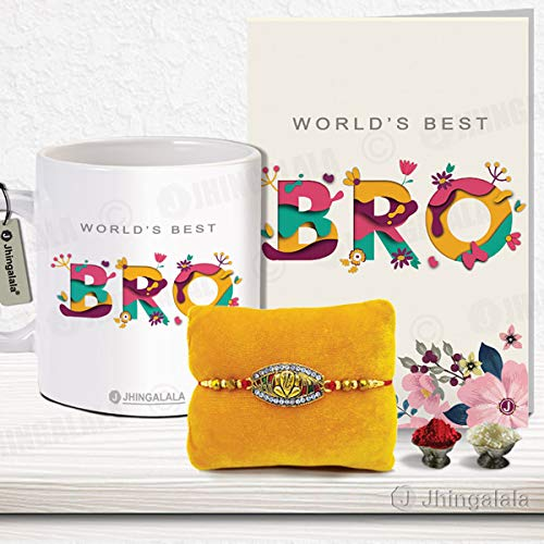 Jhingalala Raksha Bandhan Gifts Pack for Brother (Lord Ganesha Designed Pendant Rakhi, Printed Coffee Mug, World's Best Bro Raksha...