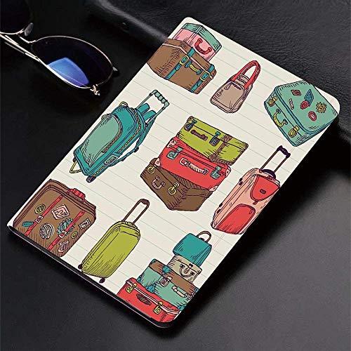 Funda para iPad (9,7 pulgadas, modelo 2018/2017, 6.a / 5.a generación) Funda inteligente ultradelgada y ligera, Doodle, maletas coloridas Diseño inspirado en las vacaciones Viajar al extranjero Vintag