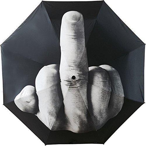 Tinsow Funny Folding Middle Finger Umbrella Creative Gift for Man/Women (Black(Middle Finger Pattern))