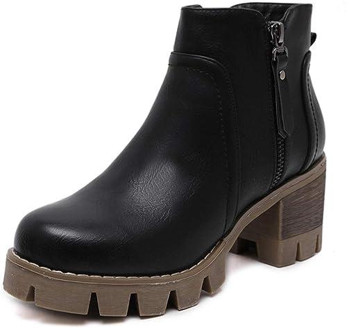 Bottes Lady Martin Bottes courtes neuves Angleterre Bottines à talons hauts épaisses et épaisses avec des bottes Martin Tube court et bottes nues Chaussures à talons épais Chaussures femmes