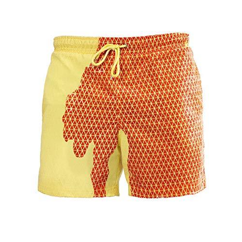 Cambia Colore Pantaloncini da Bagno da Spiaggia da Uomo, DOTBUY Estate Asciugatura Rapida Pantaloncini Nuoto Costume da Bagno per Sport, Surf, Nuoto Festa (XL,Giallo)