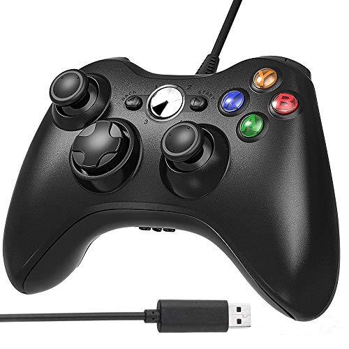 AodoT - Mando Xbox 360 para Xbox 360, diseño ergonómico con botones para Microsoft Xbox y Slim 360 PC, Windows 7/8/10 (negro)