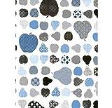 Klebefolie - Möbelfolie Äpfel und Birnen blau - 45 cm x 200 cm Selbstklebende Folie mit Obst Motiv - Dekorfolie