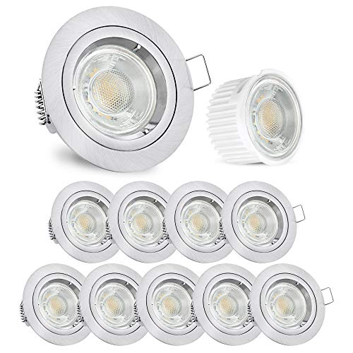 linovum® Einbaustrahler LED 10er Set flach 36mm - Einbauleuchte rund starr Edelstahl gebürstet inkl. LED neutralweiß 5W 230V
